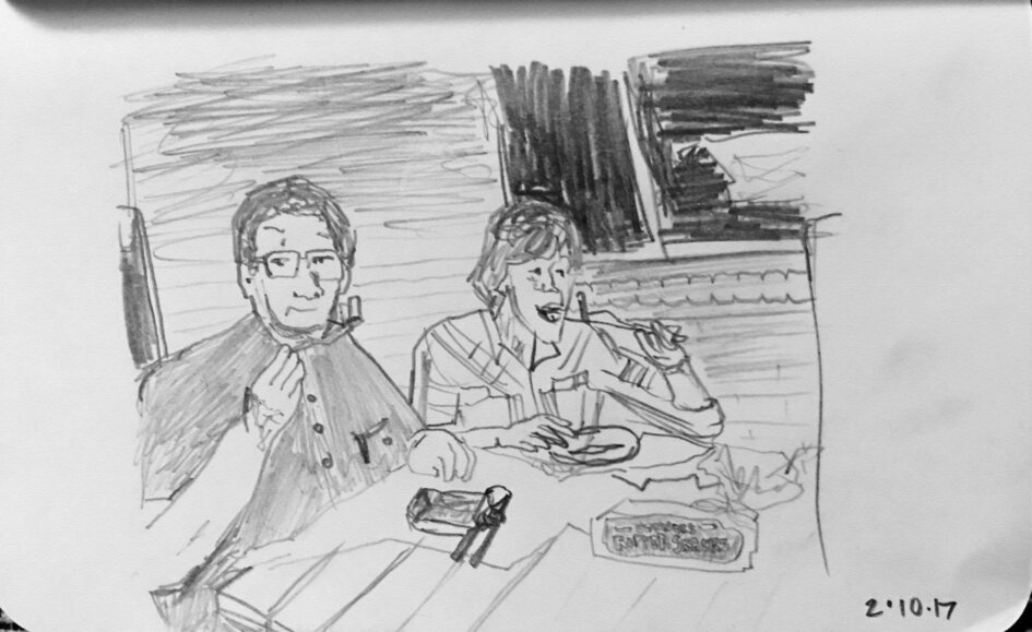sketch of grandfather and grandson eating herring