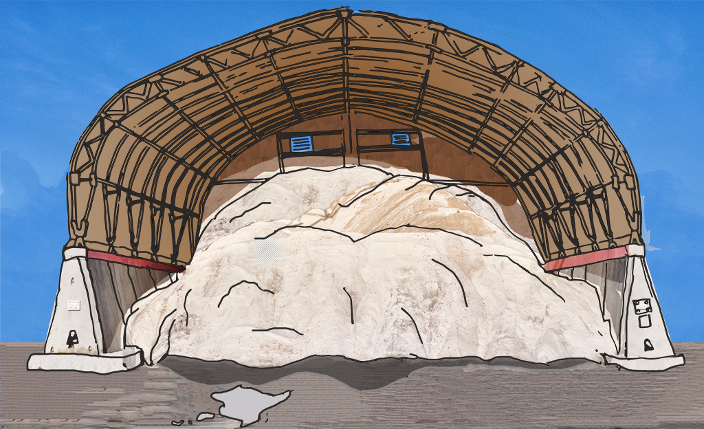 digital collage line drawing of salt or something under a hanger-like shelter